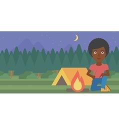 Woman kindling campfire vector