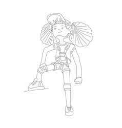young girl in baseball cap and overalls line vector image