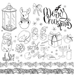 Big set with vintage christmas decoration isolated vector