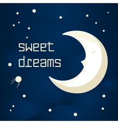 Cartoon sleeping moon vector image vector image