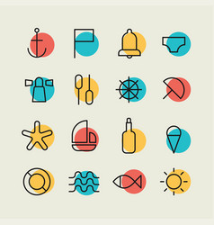 minimalistic nautical icon set vector image