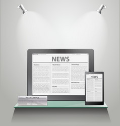 News Tablet PC on shelves vector image