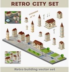 retro buildings vector image vector image