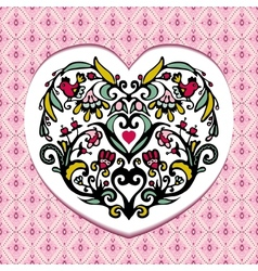 Valentines day card with bird fllower heart vector image