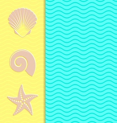 Vintage card with sea icons vector image