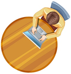 A topview of a man using his laptop above the vector image