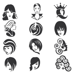 Beautiful faces icon set vector