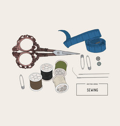 color set of objects for sewing sketch tool vector image