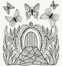 fantasy picture Flowers butterflies and door vector image