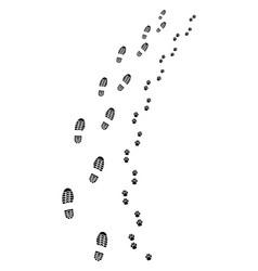 footprints of man and dog vector image vector image
