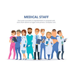 medical staff group of male and female doctors vector image