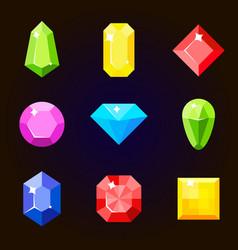 cartoon gems and diamonds set in a flat vector image