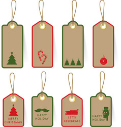 Collection of Christmas card Tag Label on paper vector image