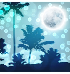 Landscape with palm trees and full moon at night vector image vector image