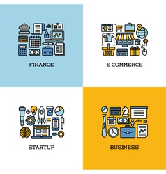 Line icons of finance e-commerce startup business vector image