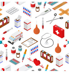medical background pattern on a white isometric vector image vector image