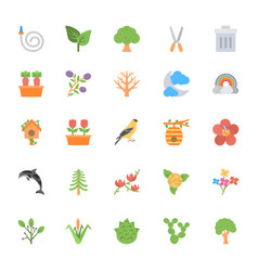 Nature and ecology flat colored icons 5 vector