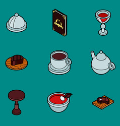 restaurant flat outline isometric icons vector image