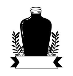 Silhouette long mason jar with branches and ribbon vector