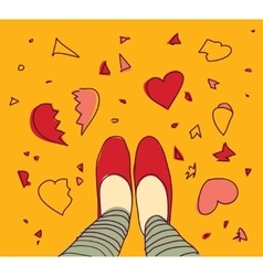 Young woman and broken hearts on the floor vector image vector image