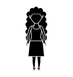 Contour beautiful woman with blouse and skirt wear vector