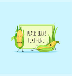 cute funny corncobs cartoon characters hoding vector image vector image