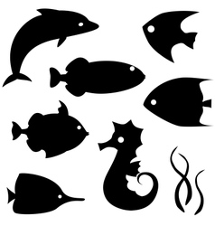 Fish silhouettes set 2 vector image