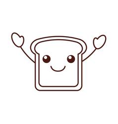 kawaii slice bread funny cartoon vector image