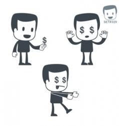 money icon man set vector image vector image