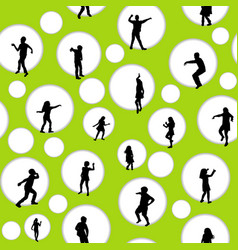 seamless background with circles and children vector image