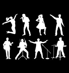 set of white silhouettes of musicians singers and vector image