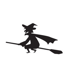 witch on a broomstick in silhouette vector image vector image