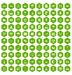 100 harmony icons hexagon green vector