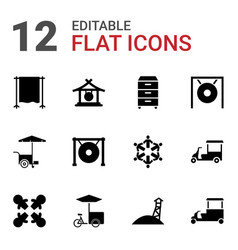 12 stand icons vector