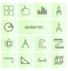 14 geometric icons vector