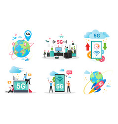 5g technology flat set gadgets computers vector