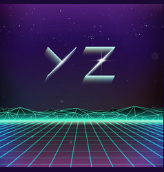 80s retro futurism geometric font from y to z vector