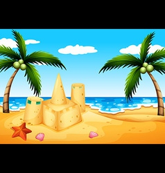 A beach with coconut trees and a sand castle vector