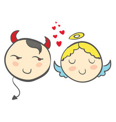 a devil and an angel with red hearts or color vector image