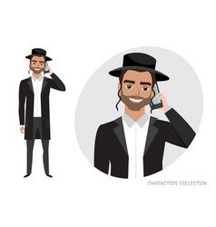 A jew man is talking on the phone vector