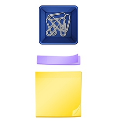 A topview of the paperclips in the container and vector image