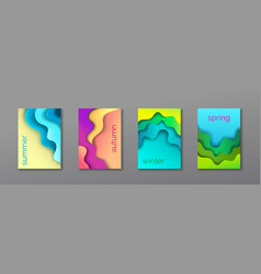 a4 abstract 4 color 3d paper art set vector image