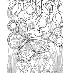 adult coloring bookpage a cute flying butterfly vector image
