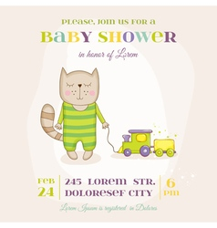 Baby Cat with a Train - Baby Shower Card vector image