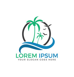 beach and palm tree logo vector image