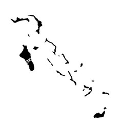 Black silhouette country borders map of bahamas vector