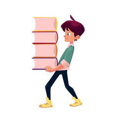 boy holding big pile of school books vector image