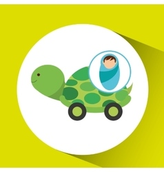 boy newborn wrap tortoise toy design vector image