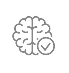 brain with tick checkmark line icon healthy vector image