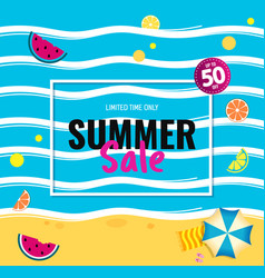 bright sale banner template design with summer vector image